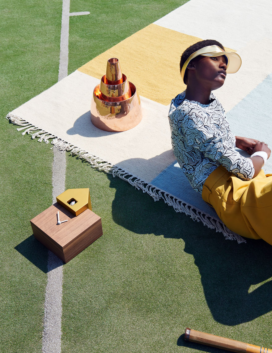 Still life shots of Interiors with Fashion and Design on Tennis Court for YOOX